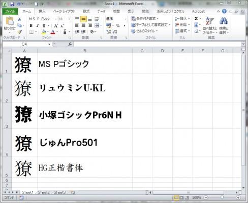 Excelでの表示