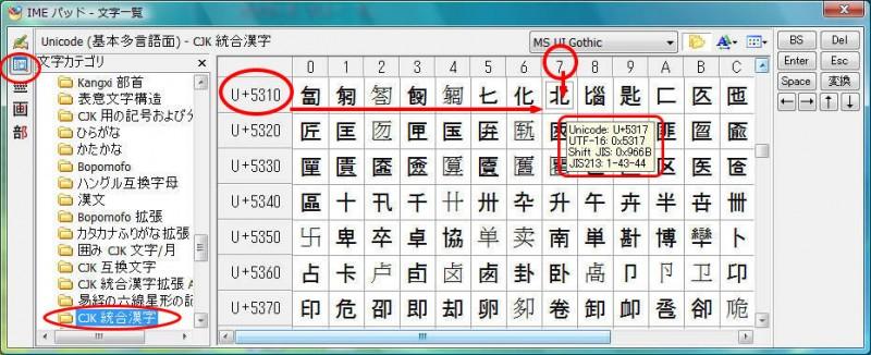 Unicodeコード位置