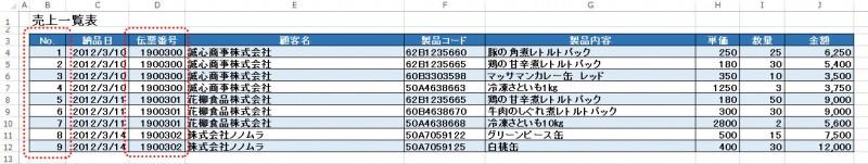納品書→データベース形式に直す